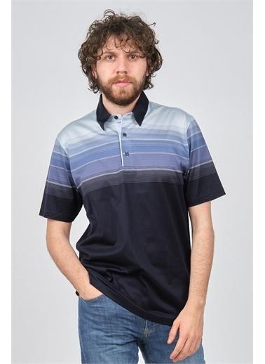 Arslanlı Arslanlı Erkek Blok Desenli Polo Yaka T-Shirt  Lacivert